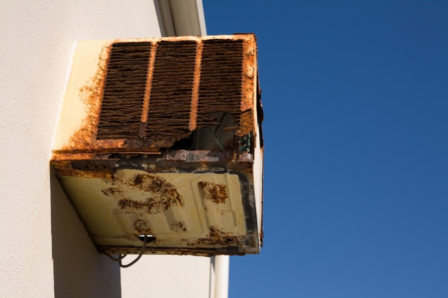 An old air conditioner that needs to be changed.